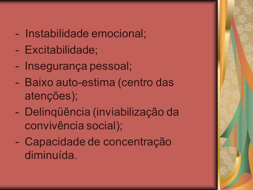 - Instabilidade emocional; -Excitabilidade; -Insegurança pessoal; -Baixo auto-estima (centro das atenções); -Delinqüência (inviabilização da convivênc