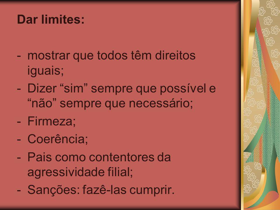 """Dar limites: -mostrar que todos têm direitos iguais; -Dizer """"sim"""" sempre que possível e """"não"""" sempre que necessário; -Firmeza; -Coerência; -Pais como"""