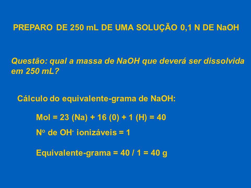 Massa de NaOH para 250 mL de solução 0,1 N: n o eq.g N =  V(L) n o eq.g 0,1 =  0,25 massa n o eq.g =  eq.g massa 0,025 =  40 n o eq.g = 0,025 massa = 1 g de NaOH