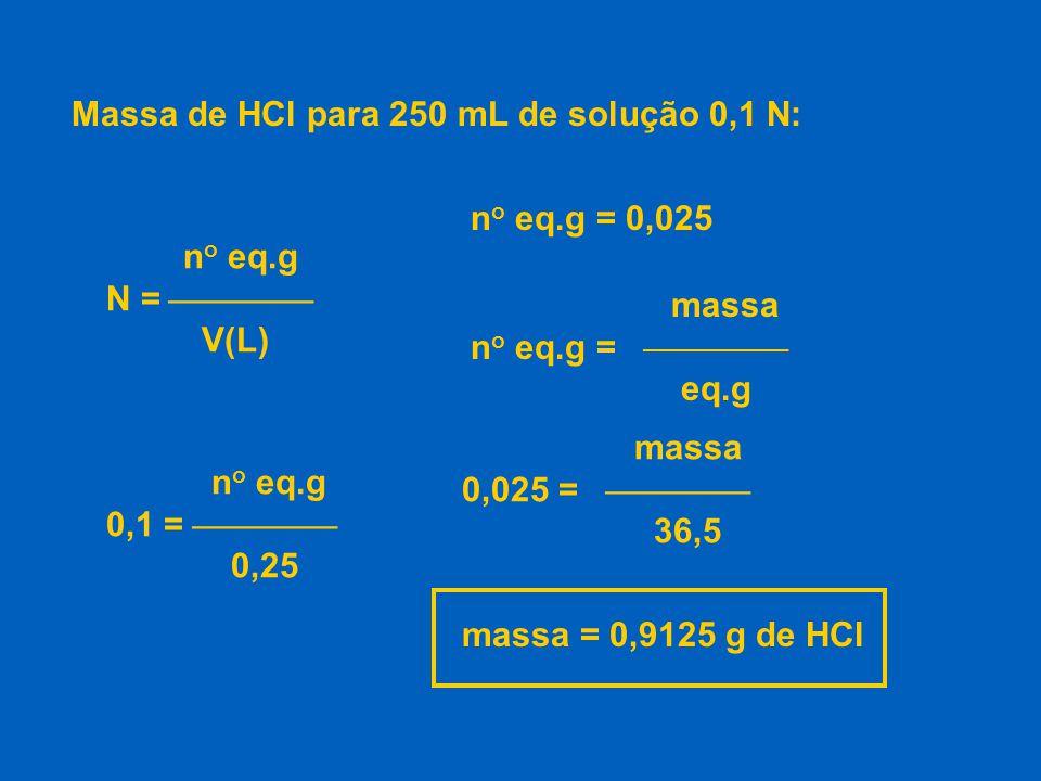 CÁLCULO DE f c : Exemplo: padronização de uma solução 0,5 N de HCl.