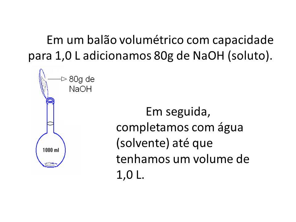 Concentração Comum É a relação entre a massa do soluto (g) e o volume (L) da solução; Concentração comum (C): g/L; Massa do soluto (m1): g; Volume (V): L.