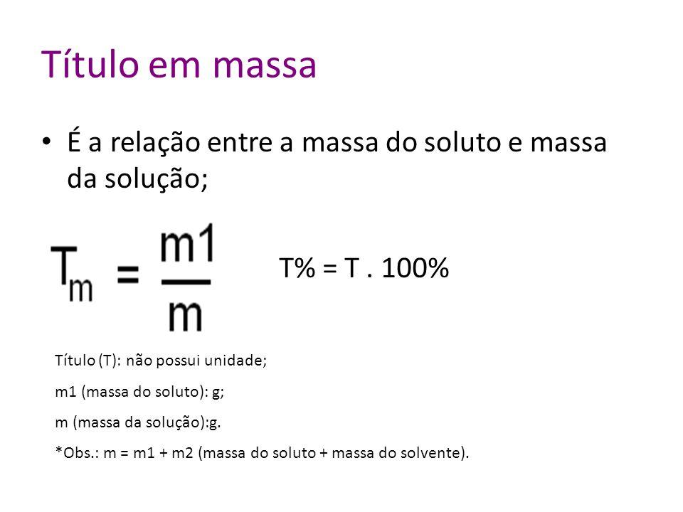 Título em massa É a relação entre a massa do soluto e massa da solução; Título (T): não possui unidade; m1 (massa do soluto): g; m (massa da solução):g.