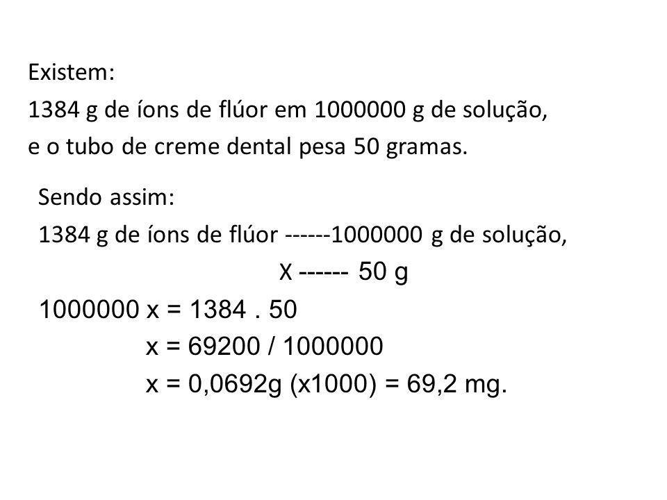 Existem: 1384 g de íons de flúor em 1000000 g de solução, e o tubo de creme dental pesa 50 gramas.
