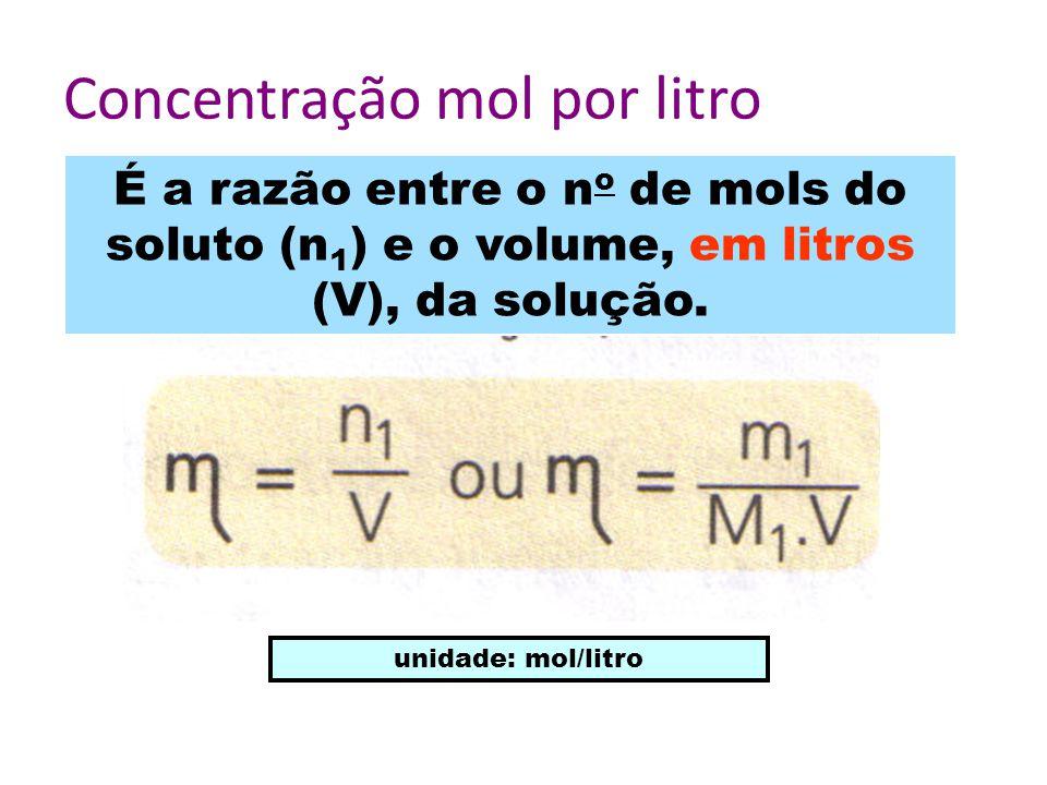 Concentração mol por litro É a razão entre o n o de mols do soluto (n 1 ) e o volume, em litros (V), da solução.
