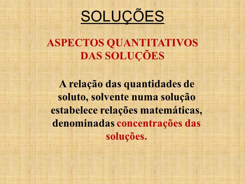 SOLUÇÕES ASPECTOS QUANTITATIVOS DAS SOLUÇÕES A relação das quantidades de soluto, solvente numa solução estabelece relações matemáticas, denominadas concentrações das soluções.
