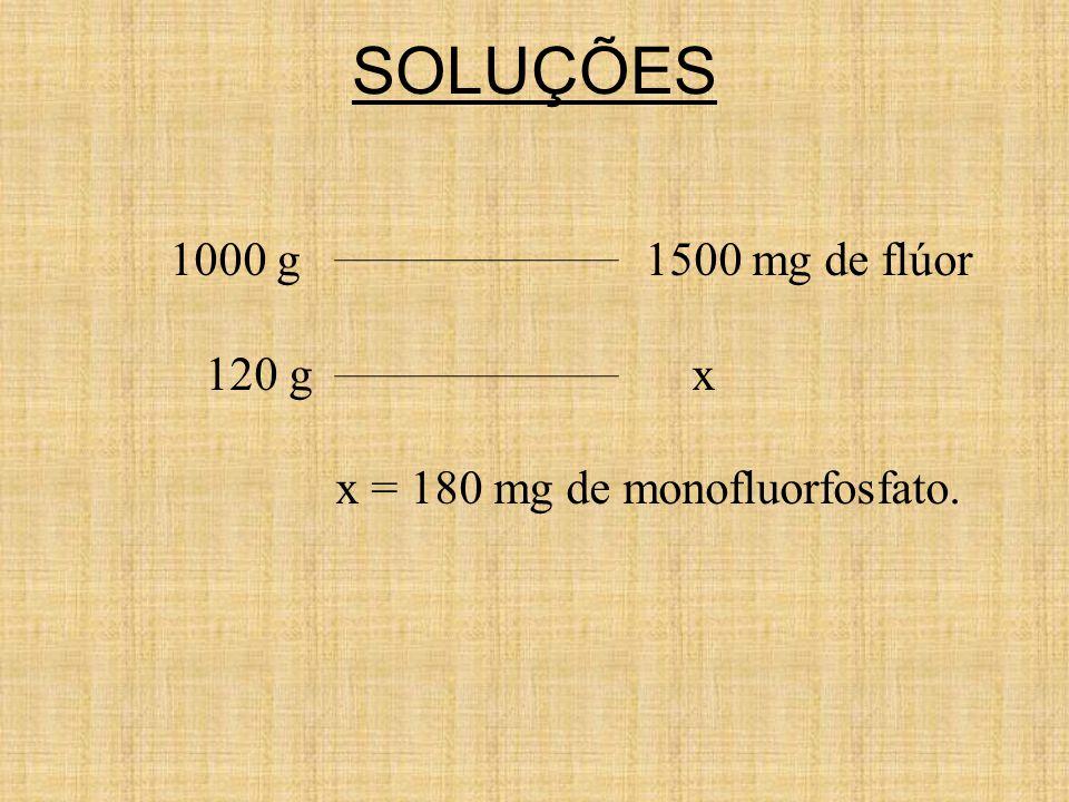 SOLUÇÕES 1000 g 1500 mg de flúor 120 g x x = 180 mg de monofluorfosfato.