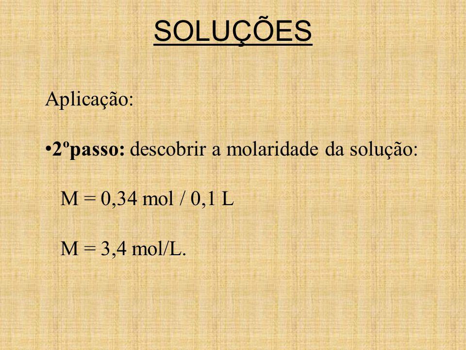 SOLUÇÕES Aplicação: 2ºpasso: descobrir a molaridade da solução: M = 0,34 mol / 0,1 L M = 3,4 mol/L.