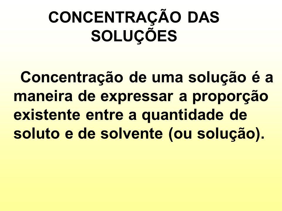 CONCENTRAÇÃO COMUM (C) MASSA DO SOLUTO VOLUME DA SOLUÇÃO