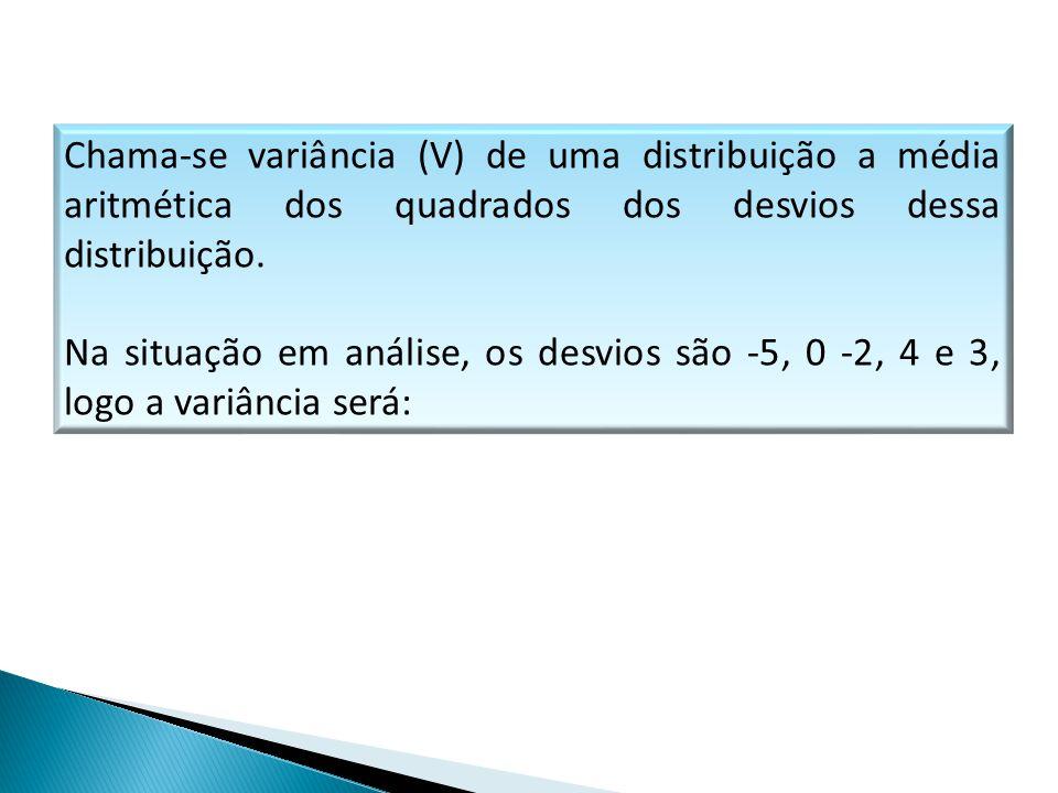 Chama-se variância (V) de uma distribuição a média aritmética dos quadrados dos desvios dessa distribuição. Na situação em análise, os desvios são -5,