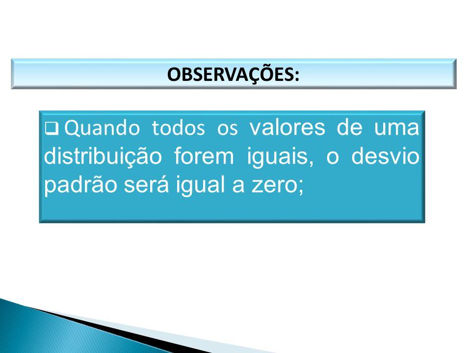 OBSERVAÇÕES:  Quando todos os valores de uma distribuição forem iguais, o desvio padrão será igual a zero; MATEMÁTICA, 1º Ano Medidas de dispersão: d