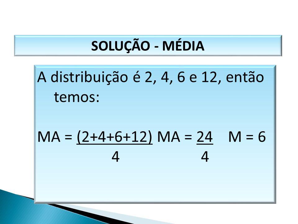 SOLUÇÃO - MÉDIA A distribuição é 2, 4, 6 e 12, então temos: MA = (2+4+6+12) MA = 24 M = 6 4 4 MATEMÁTICA, 1º Ano Medidas de dispersão: desvio médio, d