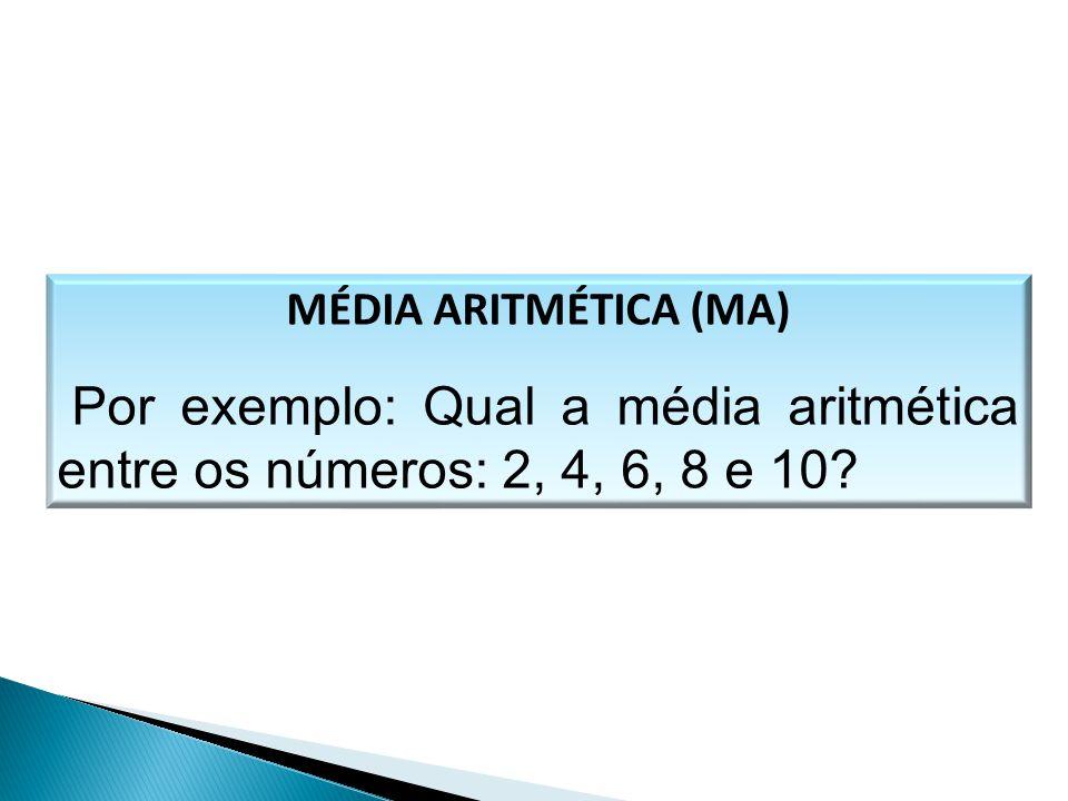 MÉDIA ARITMÉTICA (MA) Por exemplo: Qual a média aritmética entre os números: 2, 4, 6, 8 e 10? MATEMÁTICA, 1º Ano Medidas de dispersão: desvio médio, d