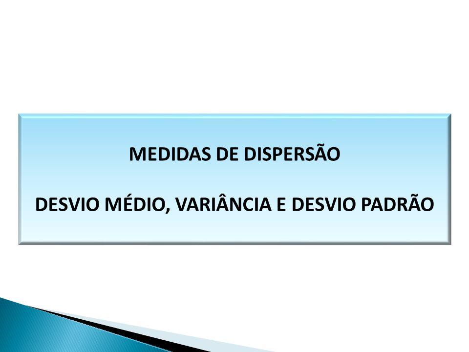 MEDIDAS DE DISPERSÃO DESVIO MÉDIO, VARIÂNCIA E DESVIO PADRÃO MATEMÁTICA, 1º Ano Medidas de dispersão: desvio médio, desvio padrão e variância