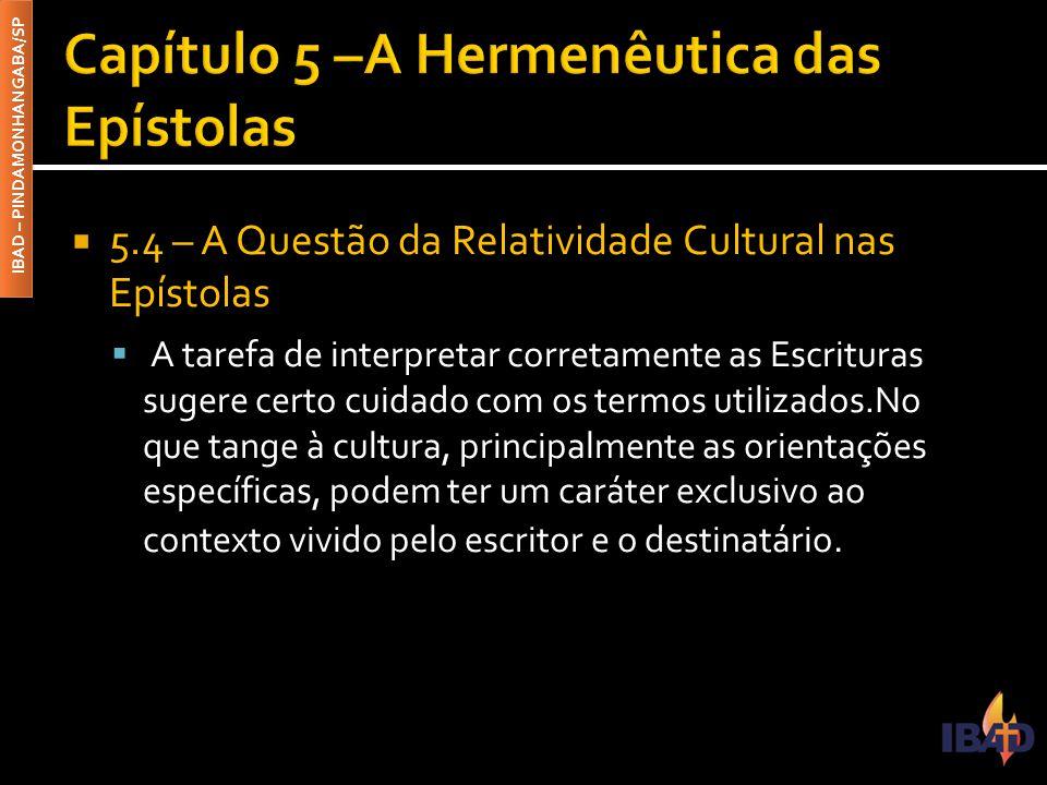 IBAD – PINDAMONHANGABA/SP  5.4 – A Questão da Relatividade Cultural nas Epístolas  A tarefa de interpretar corretamente as Escrituras sugere certo c