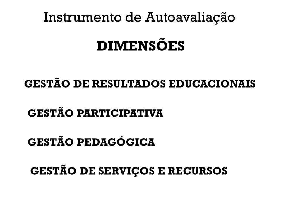 Instrumento de Autoavaliação DIMENSÕES GESTÃO DE RESULTADOS EDUCACIONAIS GESTÃO PARTICIPATIVA GESTÃO PEDAGÓGICA GESTÃO DE SERVIÇOS E RECURSOS