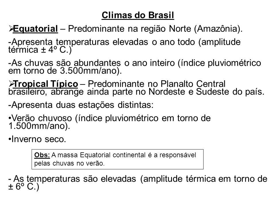 Climas do Brasil  Equatorial – Predominante na região Norte (Amazônia).