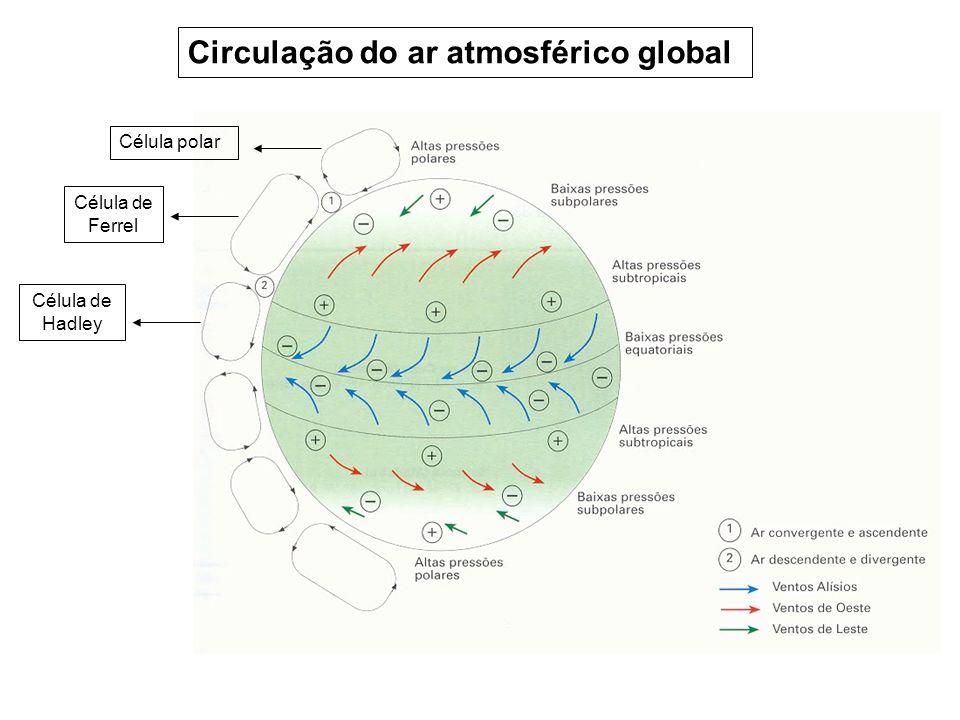 Célula polar Célula de Ferrel Célula de Hadley Circulação do ar atmosférico global