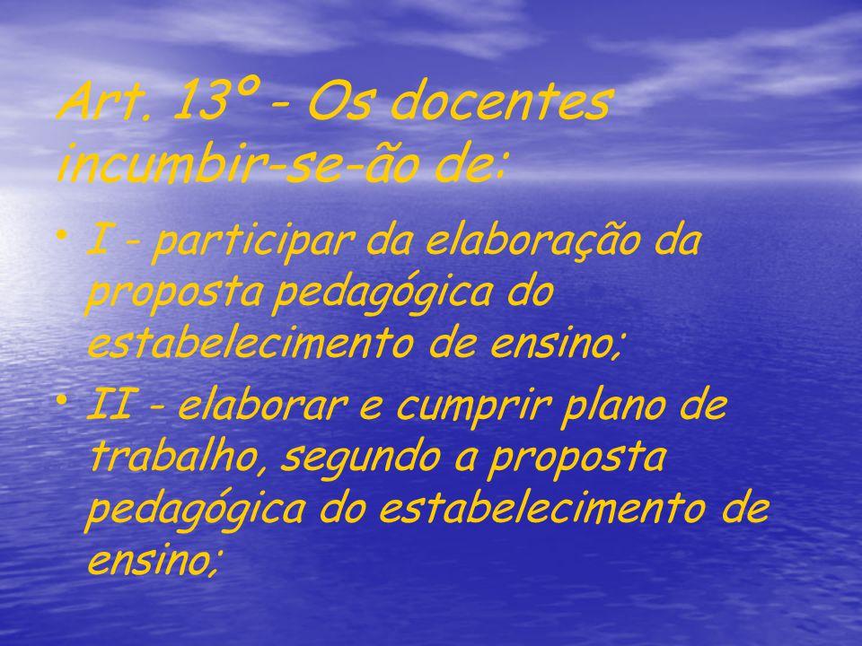 Art. 13º - Os docentes incumbir-se-ão de: I - participar da elaboração da proposta pedagógica do estabelecimento de ensino; II - elaborar e cumprir pl