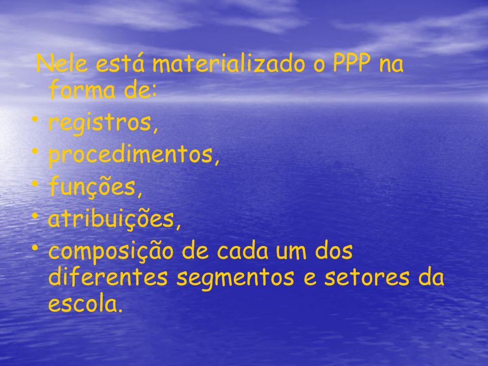 Nele está materializado o PPP na forma de: registros, procedimentos, funções, atribuições, composição de cada um dos diferentes segmentos e setores da escola.