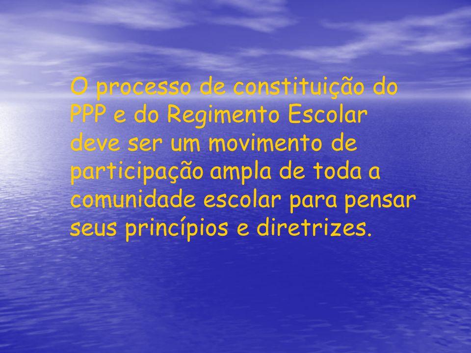 O processo de constituição do PPP e do Regimento Escolar deve ser um movimento de participação ampla de toda a comunidade escolar para pensar seus pri