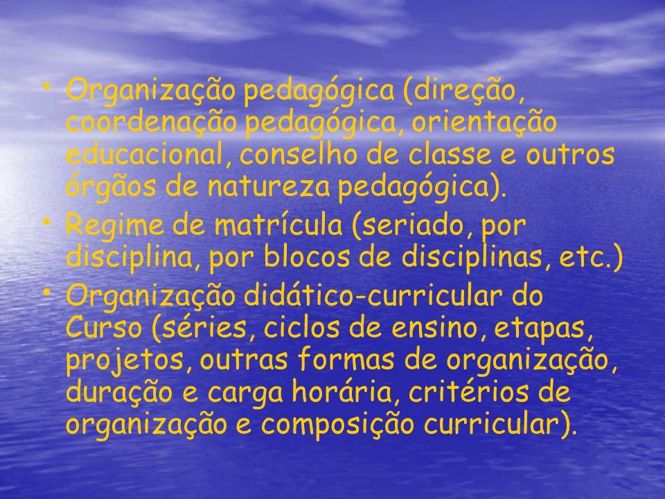 Organização pedagógica (direção, coordenação pedagógica, orientação educacional, conselho de classe e outros órgãos de natureza pedagógica). Regime de