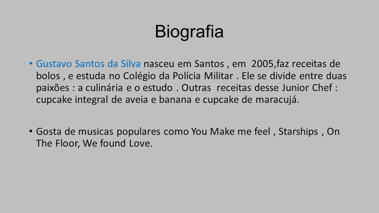 Biografia Gustavo Santos da Silva nasceu em Santos, em 2005,faz receitas de bolos, e estuda no Colégio da Polícia Militar.