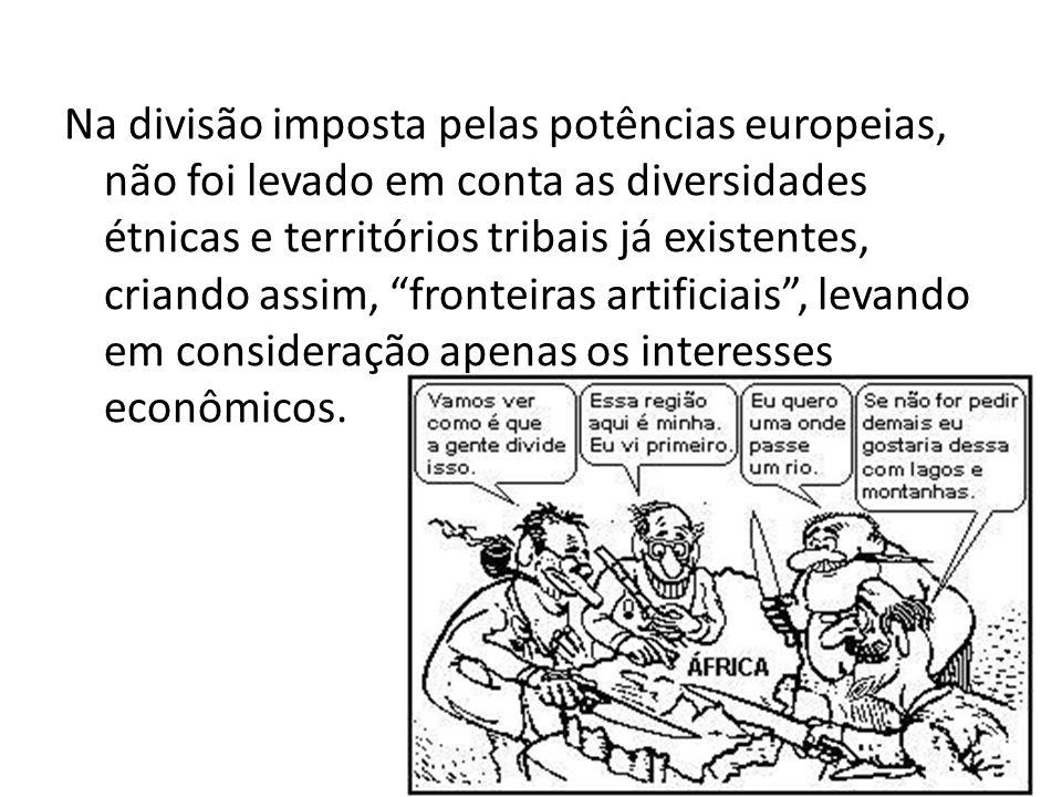 Na divisão imposta pelas potências europeias, não foi levado em conta as diversidades étnicas e territórios tribais já existentes, criando assim, fronteiras artificiais , levando em consideração apenas os interesses econômicos.