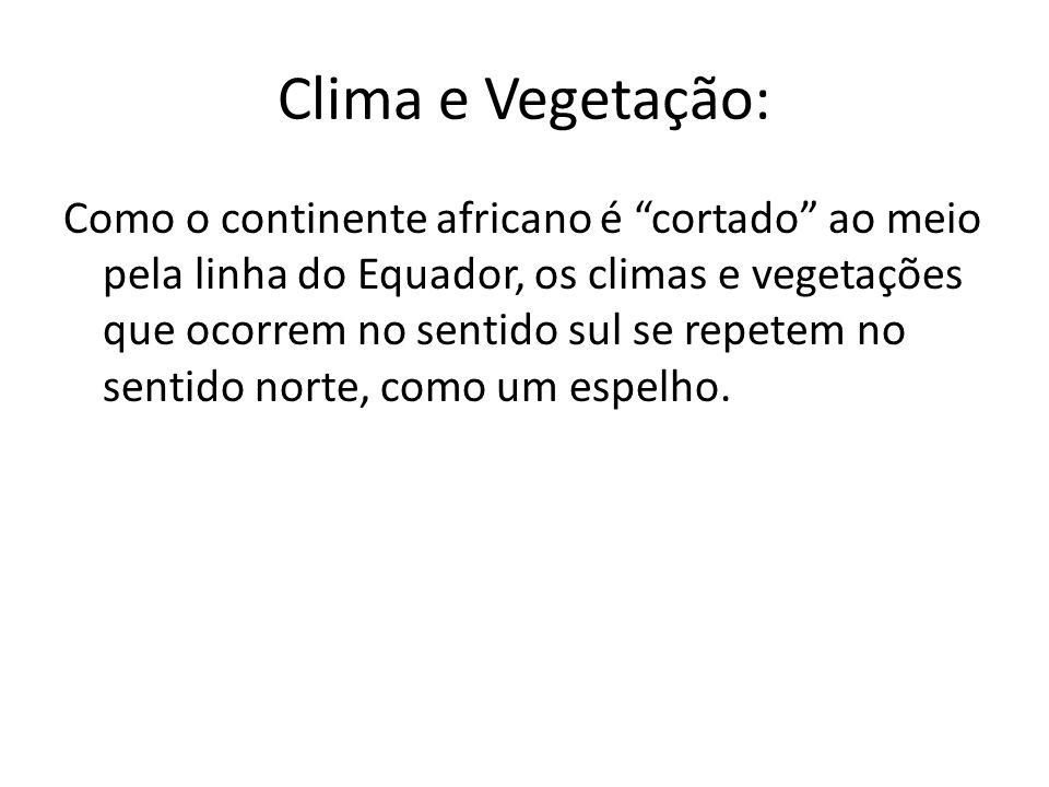 Clima e Vegetação: Como o continente africano é cortado ao meio pela linha do Equador, os climas e vegetações que ocorrem no sentido sul se repetem no sentido norte, como um espelho.