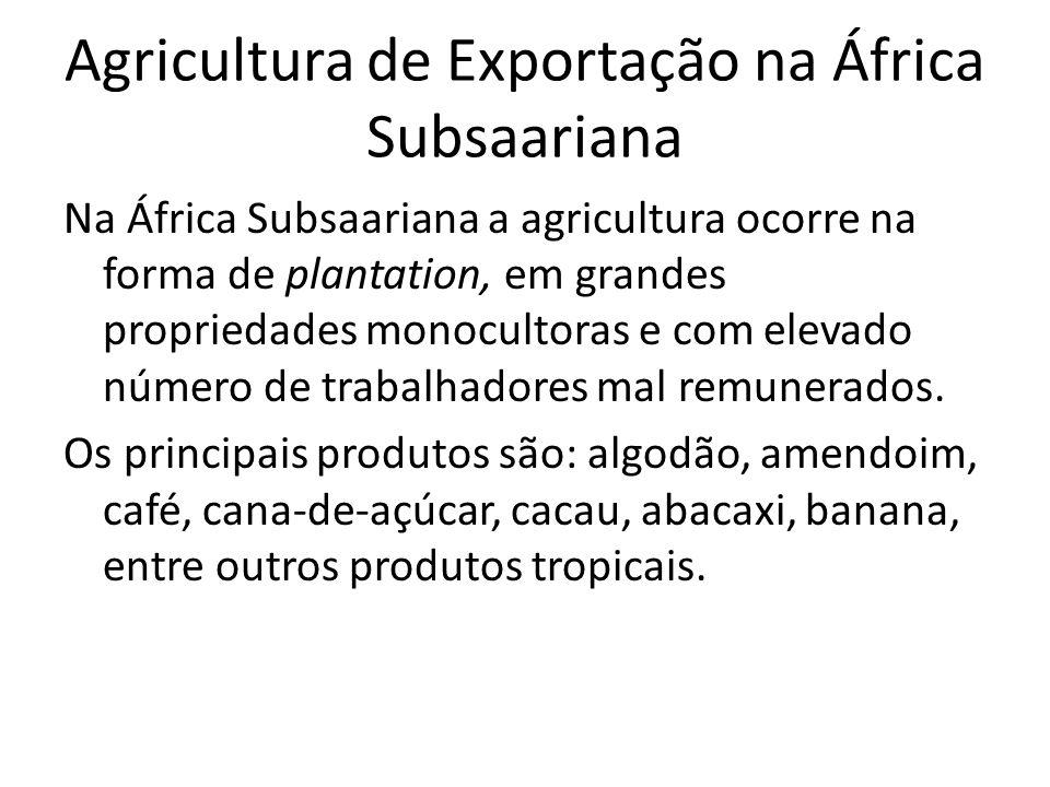 Agricultura de Exportação na África Subsaariana Na África Subsaariana a agricultura ocorre na forma de plantation, em grandes propriedades monocultoras e com elevado número de trabalhadores mal remunerados.