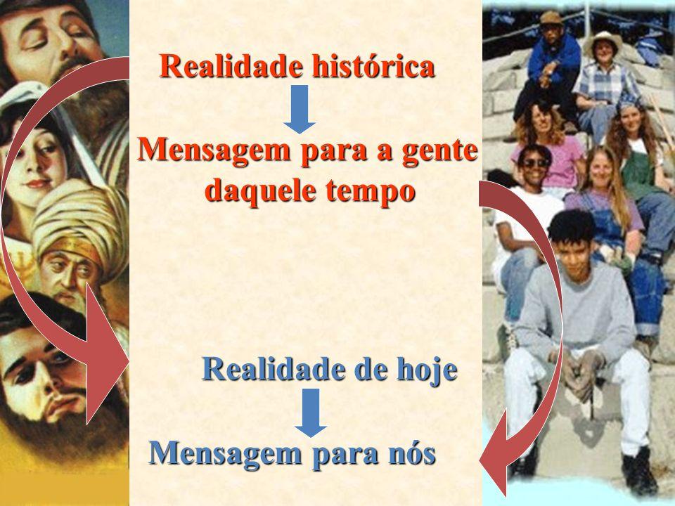 Realidade histórica Mensagem para a gente daquele tempo Realidade de hoje Mensagem para nós