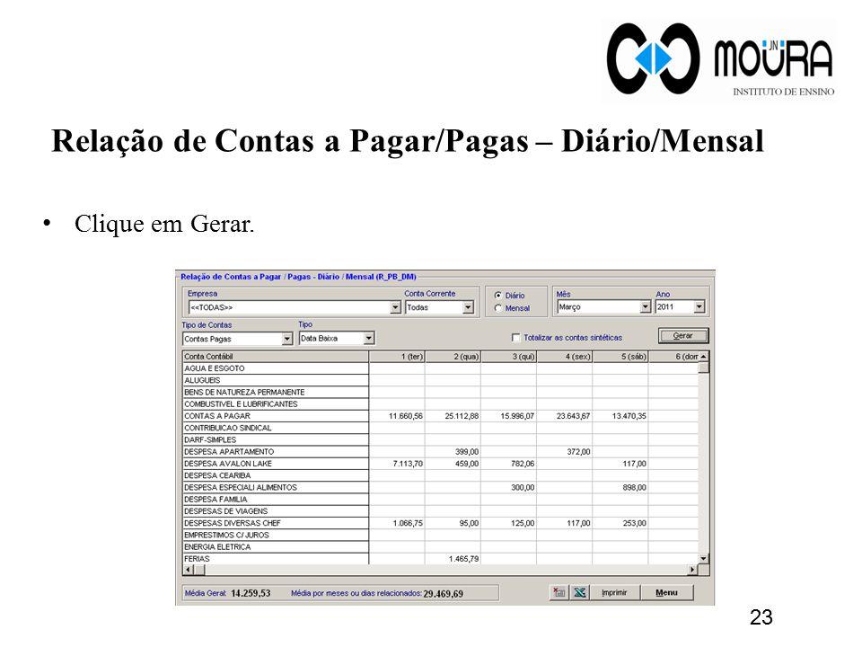 Relação de Contas a Pagar/Pagas – Diário/Mensal Clique em Gerar. 23