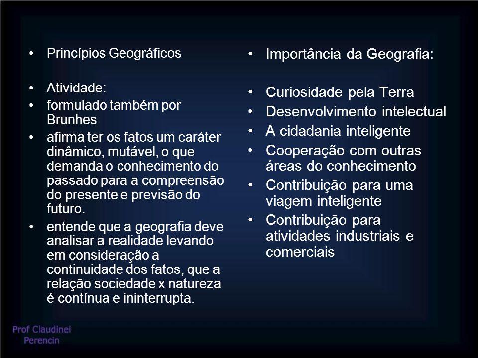 Princípios Geográficos Atividade: formulado também por Brunhes afirma ter os fatos um caráter dinâmico, mutável, o que demanda o conhecimento do passado para a compreensão do presente e previsão do futuro.