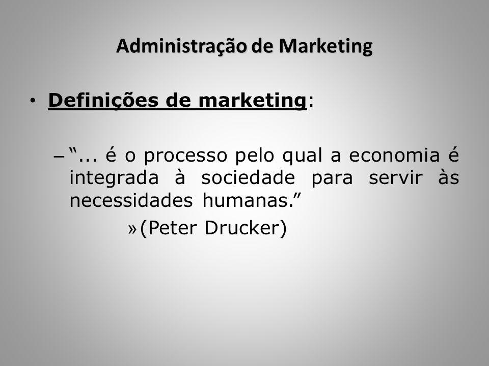 """Administração de Marketing Definições de marketing: – """"... é o processo pelo qual a economia é integrada à sociedade para servir às necessidades human"""