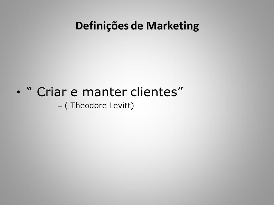 """Definições de Marketing """" Criar e manter clientes"""" – ( Theodore Levitt)"""