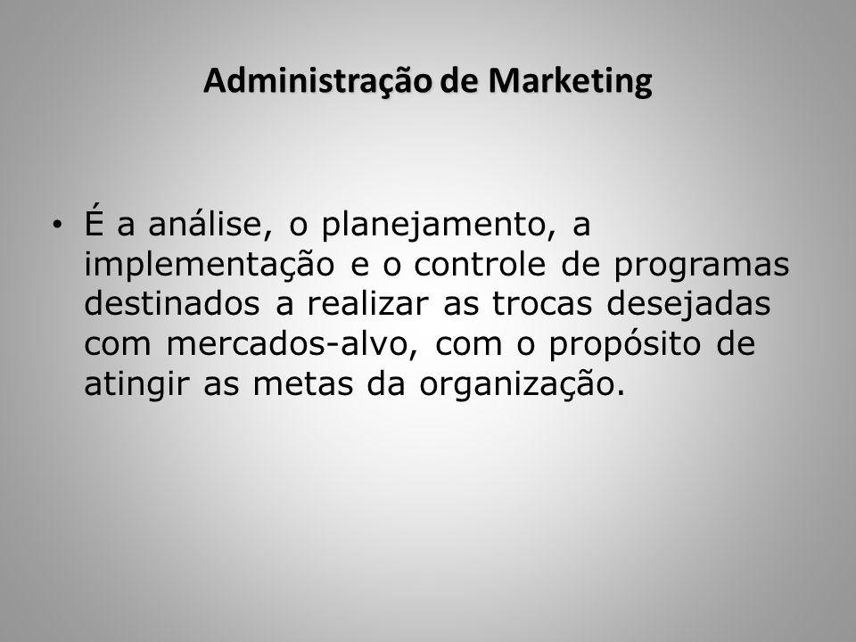 Administração de Marketing É a análise, o planejamento, a implementação e o controle de programas destinados a realizar as trocas desejadas com mercad