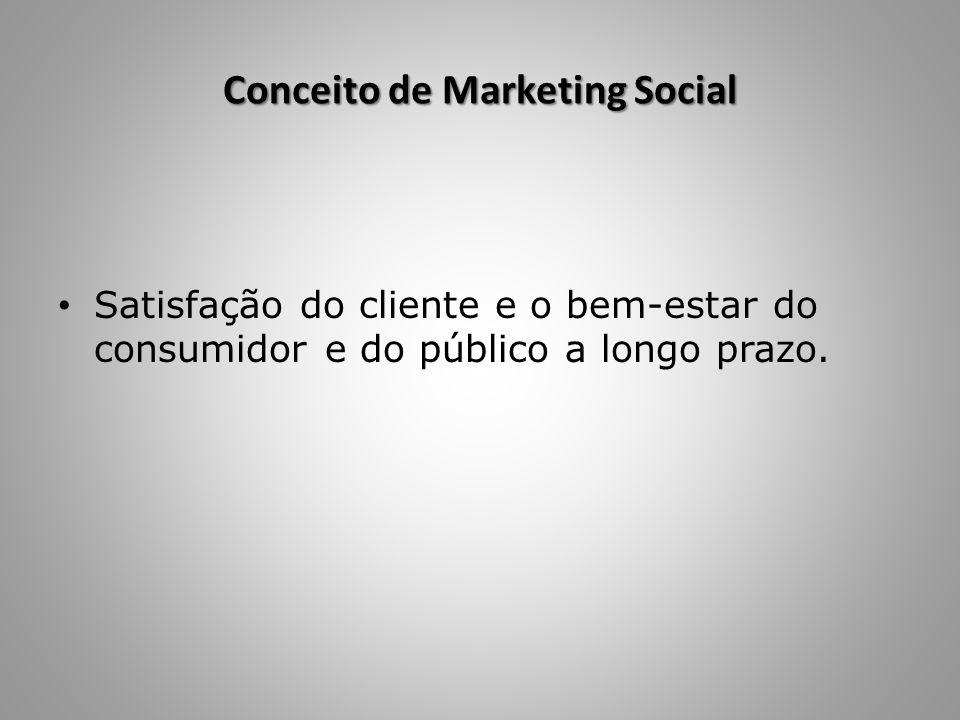 Conceito de Marketing Social Satisfação do cliente e o bem-estar do consumidor e do público a longo prazo.
