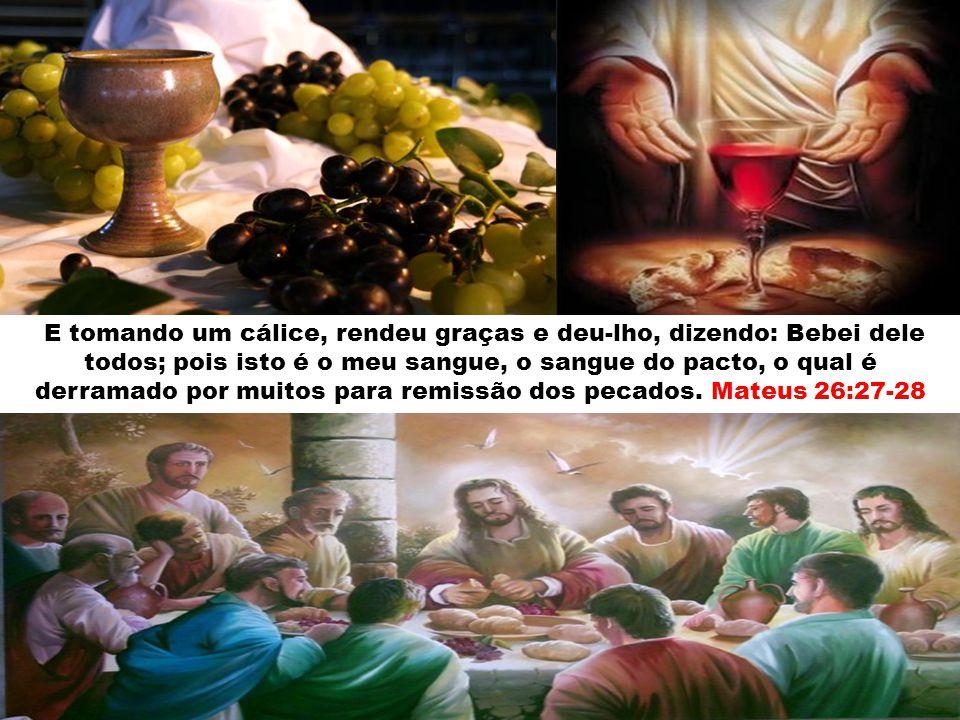 E tomando um cálice, rendeu graças e deu-lho, dizendo: Bebei dele todos; pois isto é o meu sangue, o sangue do pacto, o qual é derramado por muitos para remissão dos pecados.