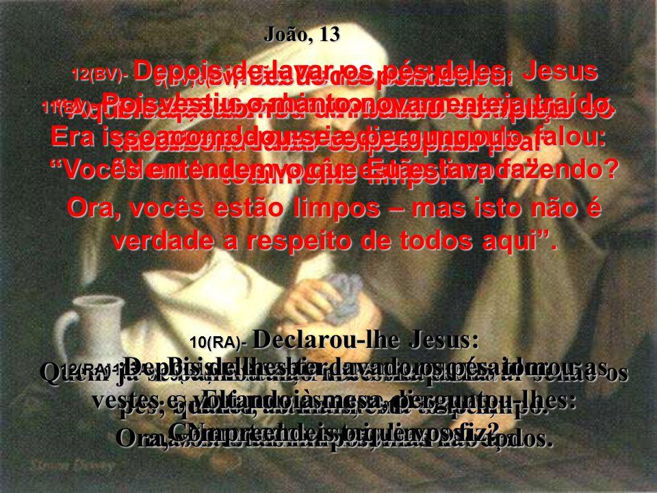 4(BV)- Assim foi que Ele se levantou da mesa da ceia, tirou o manto, enrolou uma toalha na cintura, 5(BV)- derramou água numa bacia, e começou a lavar os pés dos discípulos, enxugando com a toalha que tinha à sua volta.