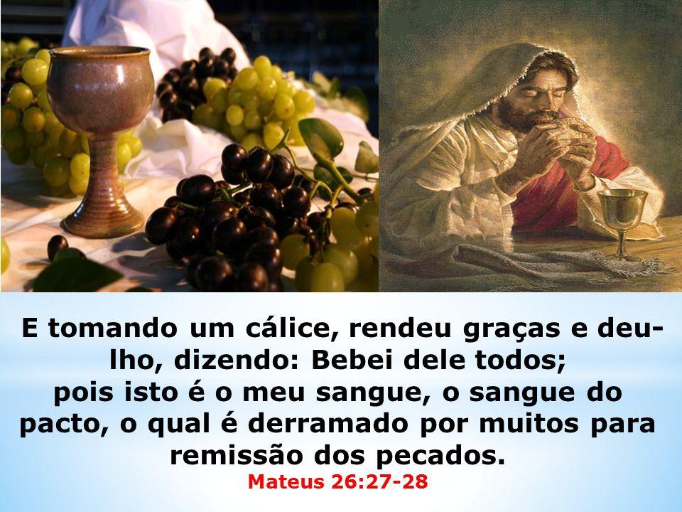 E tomando um cálice, rendeu graças e deu- lho, dizendo: Bebei dele todos; pois isto é o meu sangue, o sangue do pacto, o qual é derramado por muitos para remissão dos pecados.