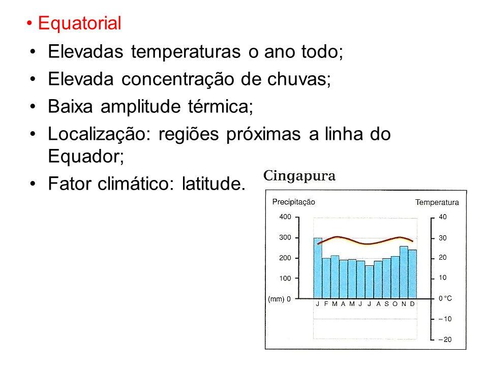 Equatorial Elevadas temperaturas o ano todo; Elevada concentração de chuvas; Baixa amplitude térmica; Localização: regiões próximas a linha do Equador; Fator climático: latitude.