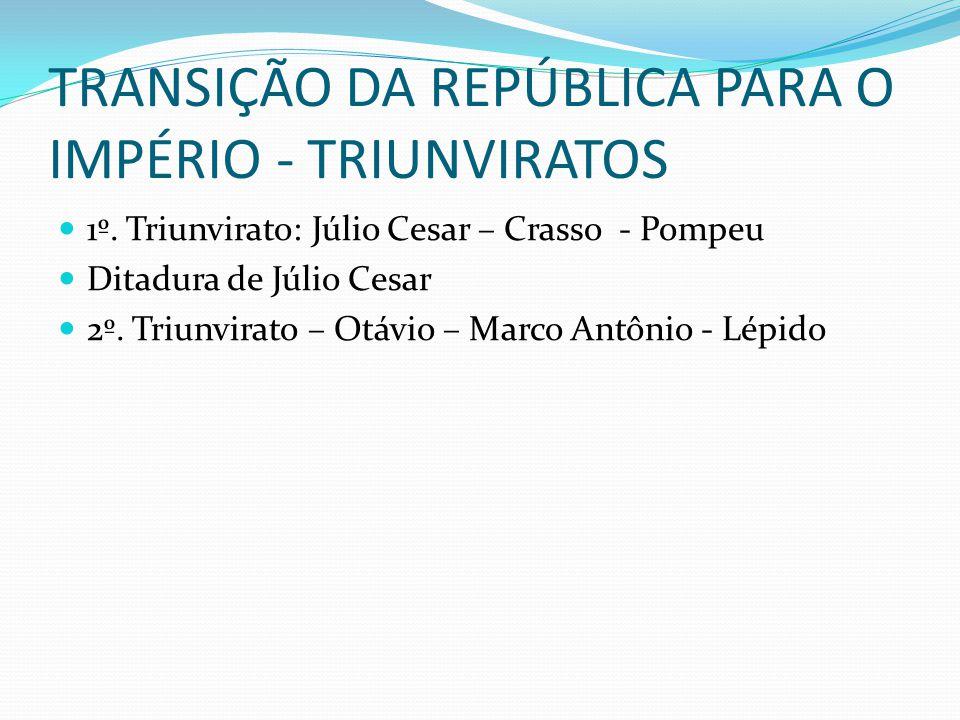 TRANSIÇÃO DA REPÚBLICA PARA O IMPÉRIO - TRIUNVIRATOS 1º.