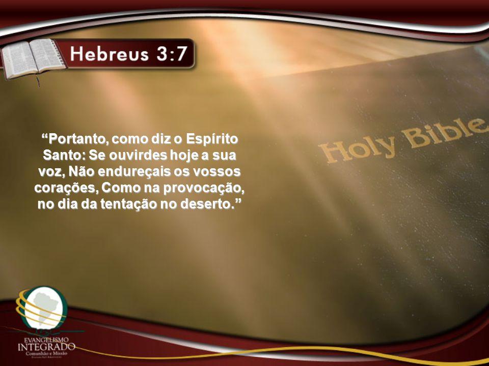 """""""Portanto, como diz o Espírito Santo: Se ouvirdes hoje a sua voz, Não endureçais os vossos corações, Como na provocação, no dia da tentação no deserto"""