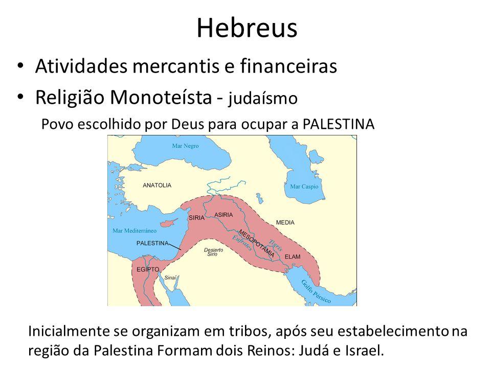 Hebreus Atividades mercantis e financeiras Religião Monoteísta - judaísmo Povo escolhido por Deus para ocupar a PALESTINA Inicialmente se organizam em tribos, após seu estabelecimento na região da Palestina Formam dois Reinos: Judá e Israel.