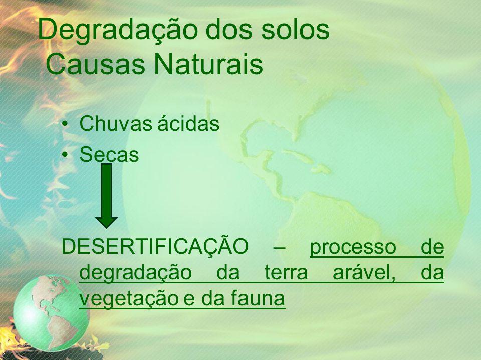 Degradação dos solos Causas Naturais Chuvas ácidas Secas DESERTIFICAÇÃO – processo de degradação da terra arável, da vegetação e da fauna