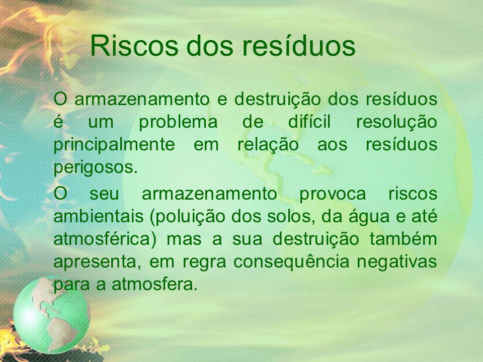 Riscos dos resíduos O armazenamento e destruição dos resíduos é um problema de difícil resolução principalmente em relação aos resíduos perigosos.