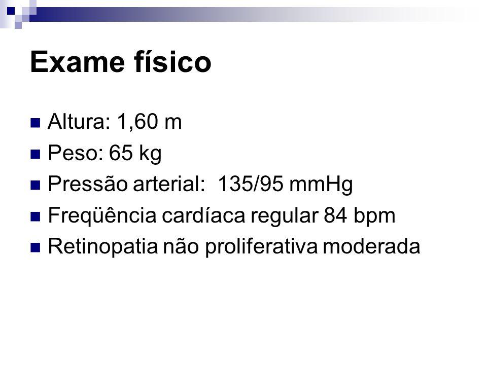 Resultados de exames Laboratoriais Hb A1c : 8,9% traços de proteína na urina Relação albumina/creatinina (ACR) 5,0 mg/mmol Taxa de Filtração Glomerular > 60 ml/min Uréia: 10,3 mg/dl (3,7 mmol/l) Creatinina sérica: 0,9 mg/dl (80 µ mol/l) eletrólitos e TSH normais.