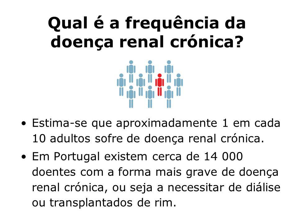 Qual é a frequência da doença renal crónica? Estima-se que aproximadamente 1 em cada 10 adultos sofre de doença renal crónica. Em Portugal existem cer