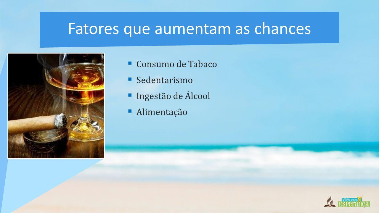  Consumo de Tabaco  Sedentarismo  Ingestão de Álcool  Alimentação Fatores que aumentam as chances