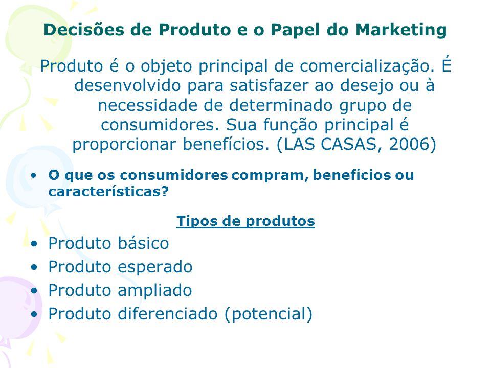 Decisões de Produto e o Papel do Marketing Produto é o objeto principal de comercialização.