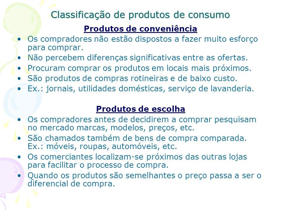 Classificação de produtos de consumo Produtos de conveniência Os compradores não estão dispostos a fazer muito esforço para comprar.